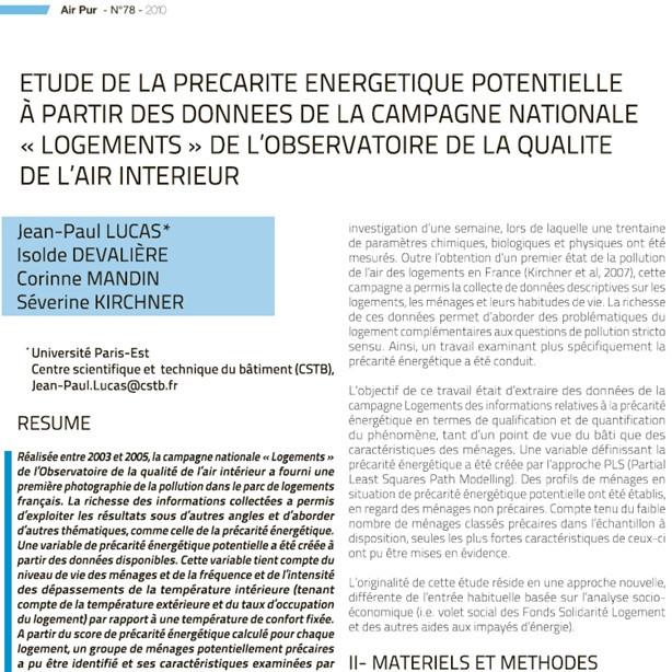 Etude de la précarité énergétique potentielle à partir des données de la campagne nationale « Logements » de l'OQAI