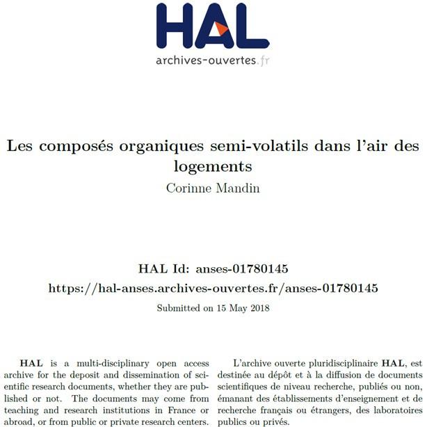 Les composés organiques semi-volatils dans l'air des logements - C. MANDIN